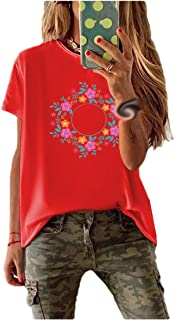 neveraway Womens Floral Printed Cotton Short Sleeve Casual Round Neck Tee Shirt