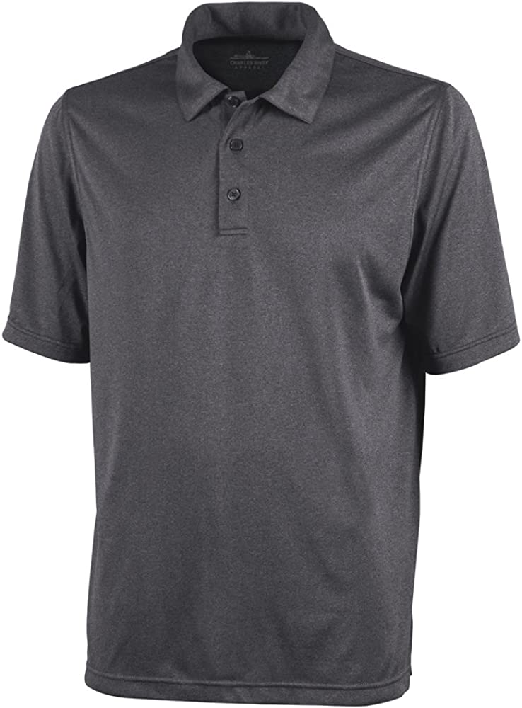 Charles River Apparel Men's Heathered Polo, Graphite, 4XL