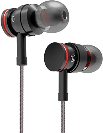 Earphones Bass in-Ear Earbuds Headphones with Microphone and Volume Control 3.9 Ft Black