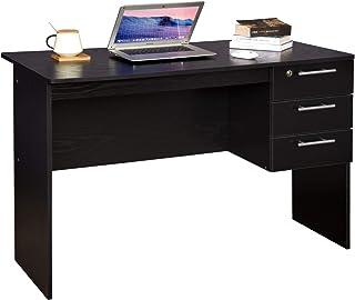 WOLTU Mesa de Ordenador Mesa de Oficina Mesa de PC Escritorio con 3 Cajones Madera 110x50x76cm Negro TS59sz