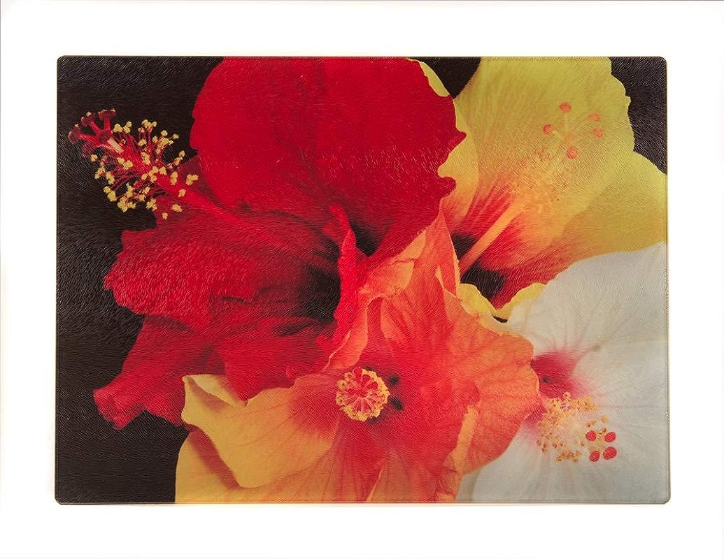 Glass Cutting Board Hibiscus Bunch 15 25 X 11 25