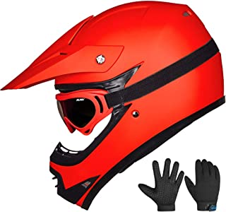 ILM Youth Kids ATV Motocross Dirt Bike Motorcycle BMX Downhill Off-Road MTB Mountain Bike Helmet DOT Approved (Youth-XL, Matte Red)