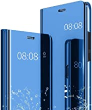 YES2GOOD Mobile Flip Case Cover for Oppo F17 Mirror Flip Clear View Look, Magnetic Video Stand, Shockproof, Electroplate Mirror Flip with 360 Protection S-View Flip Case Cover [Blue]