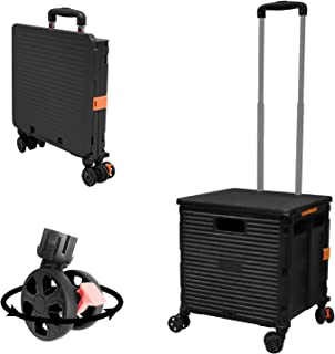 Foldable Utility Cart Folding Portable Rolling Crate Handcart with Durable Heavy Duty Plastic Telescoping Handle Collapsib...