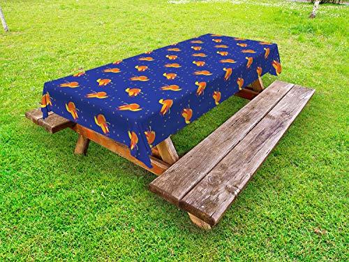 ABAKUHAUS Feniks Tafelkleed voor Buitengebruik, Vogels in de kleuren Starry Night Sky, Decoratief Wasbaar Tafelkleed voor Picknicktafel, 58 x 120 cm, Violet Blue Vermilion
