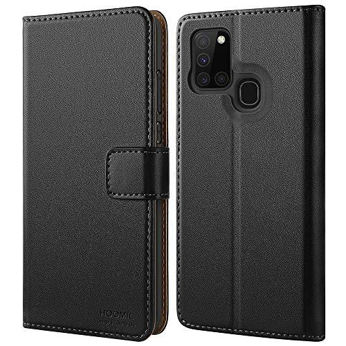 HOOMIL Handyhülle für Samsung Galaxy A21S Hülle, Premium PU Leder Flip Case Schutzhülle für Samsung Galaxy A21S Tasche, Schwarz