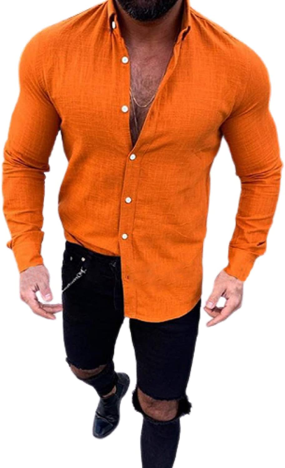 Men's Long-Sleeved Shirts Simple Fashion All- Inexpensive Max 56% OFF Casual Solid Color