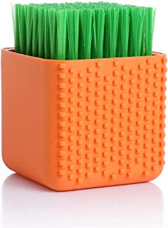 Silicone Cleaning Brush Clothes Brush Laundry Brush Stain Brush for Clothes Underwear Shoes, All Purpose Scrub Brush Orange