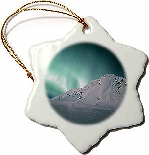 3dRose LLC ORN_87581_1 Porcelain Snowflake Ornament, 3-Inch, Aurora Borealis, Northern Lights, Talkeetna, Alaska-Kevin Schafer