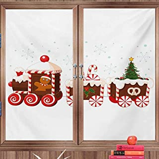 DearestLove Heat Control Window Film Christmas,Train with Gingerbread Cream Candy Cartoon Toys Snowflakes Presents,White Brown Vermilion Static Cling Screen StickersW36 xH 17