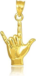 14k Gold I Love You Hand Sign Language Charm Pendant