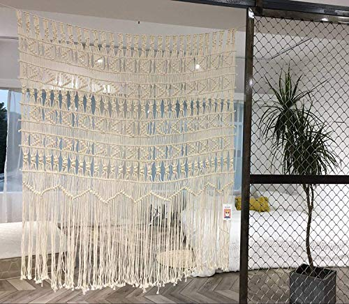 Flber Makramee-Vorhang, Makramee-Wandbehang, handgewebt, Boho-Hochzeits-Hintergrund, Küchenvorhänge, 132,1 cm B x 142,1 cm H