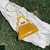 HMYLI Bolso de Hombro de Cuero de Las señoras, diseño Elegante de la Bolsa de Mensajero Elegante de Madera, Bolso, Amarillo
