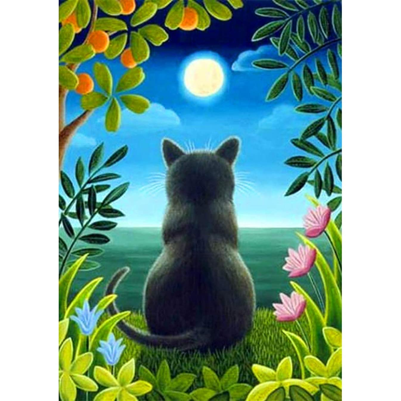 Full Drill DIY Square Diamond Painting by Number Kit, Black Cat Moon Embroidery Cross Stitch Picture Supplies Arts Craft Wall Sticker Decor