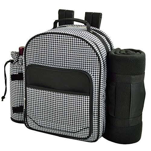 Picnic at Ascot - Deluxe Equipped 2 Person Picnic Backpack with Cooler, Insulated Wine Holder & Blanket - Houndstooth