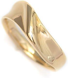 K18 イエローゴールド リング 18金 指輪 V字 ウェーブ デザイン カップル ペアリングにも (9)
