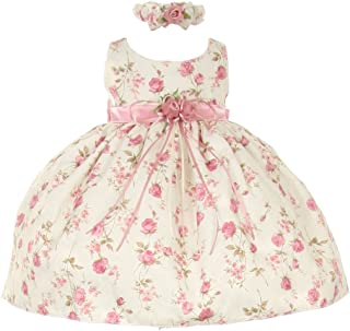 17e059885be Cinderella Couture Baby Girls Pink Rose Printed Jacquard Occasion Dress  6-24M