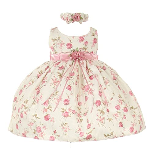 d5ee6ed2bd70 Cinderella Couture Baby Girls Pink Rose Printed Jacquard Occasion Dress  6-24M