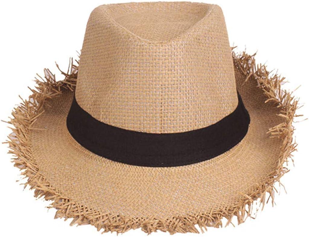 Unisex Summer Wide Brim Beach Caps Straw Sun Hat Mens Floppy Sunhat Outdoor Sun Protection SPF 50+ Small Top Hats