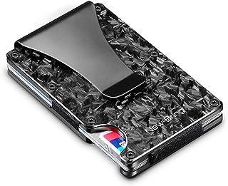 New-Bring Forged Carbon Fiber Minimalist Wallet for Men-Credit Card Holder with Money Clip-Mens Front Pocket RFID Blocking Wallet Slim