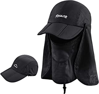 ICOLOR Sun Cap Fishing Hats Outdoor 360° Sun Protection UPF 50+ Sun Caps Removable Neck Face Flap Cover Caps for Man Women Fishing Hiking Gardening