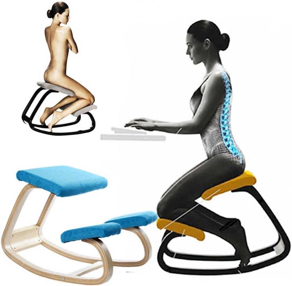 PENGFEI Bois Massif Chaise d'ordinateur Yoga Tabouret à Genoux Position Assise correcte Coussin Anti-Stress étudiant 2 Couleurs 45,5×72×53 CM (Couleur : Bleu) Vin Rouge