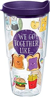 Tervis 1248532 We Go Together Like Tumbler with Wrap and Royal Purple Lid 24oz, Clear