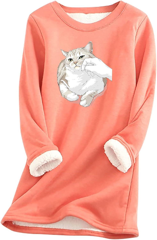 Women Fleece Sleepwear Cute Cat Graphic Tops Long Sleeve Pajamas Crewneck Nightwear Shirts Dresses