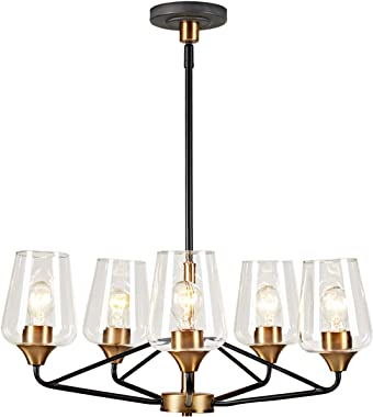 "MOTINI 26"" Large 5 Light Glass Shaded Chandelier for Dining Room, Black and Gold Brushed Brass, Ceiling Hanging Pendant Light"