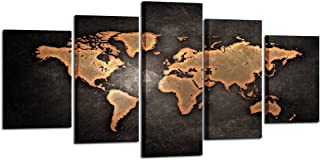 Kreative Arts - Retro World Map Poster Framed 5 Pcs Giclee Canvas Prints Vintage Abstract World Map Painting Printed on Canvas Ready to Hang for Living Room Office Decor Gift (XLarge Size 79x40inch)