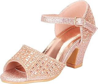 IINFINE Toddler Little Girls Low Medium Heel Dress Sandal Flower Girl