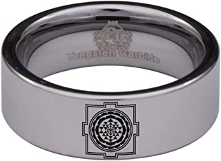 Tungsten Carbide Sri Yantra Ring Wedding Band Anniversary Ring for Men and Women 8mm