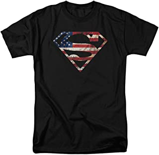 Superman Logo S Shield American Flag T Shirt & Stickers
