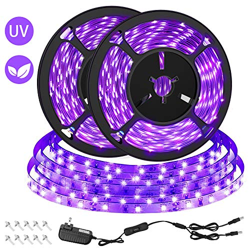 CLY 33ft LED UV Black Light Strip Kit, 600 Units UV Lamp Beads, 12V Flexible Blacklight Fixtures, 10m LED Ribbon for Indoor Fluorescent Dance Party, Stage Lighting, Birthday,Wedding