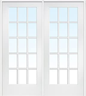 National Door Company ZZ09309R Primed Wood Prehung In-Swing Interior Double Door, Clear Glass, 15 Lite, Right Hand, 72