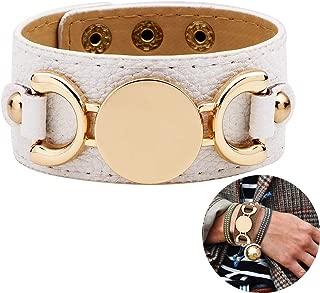 Punk Style Leather Bracelet Rose Gold Metal Wristbands Wide Belt Cuff Bangle Rock Wrap for Women Girl Adjustable – White
