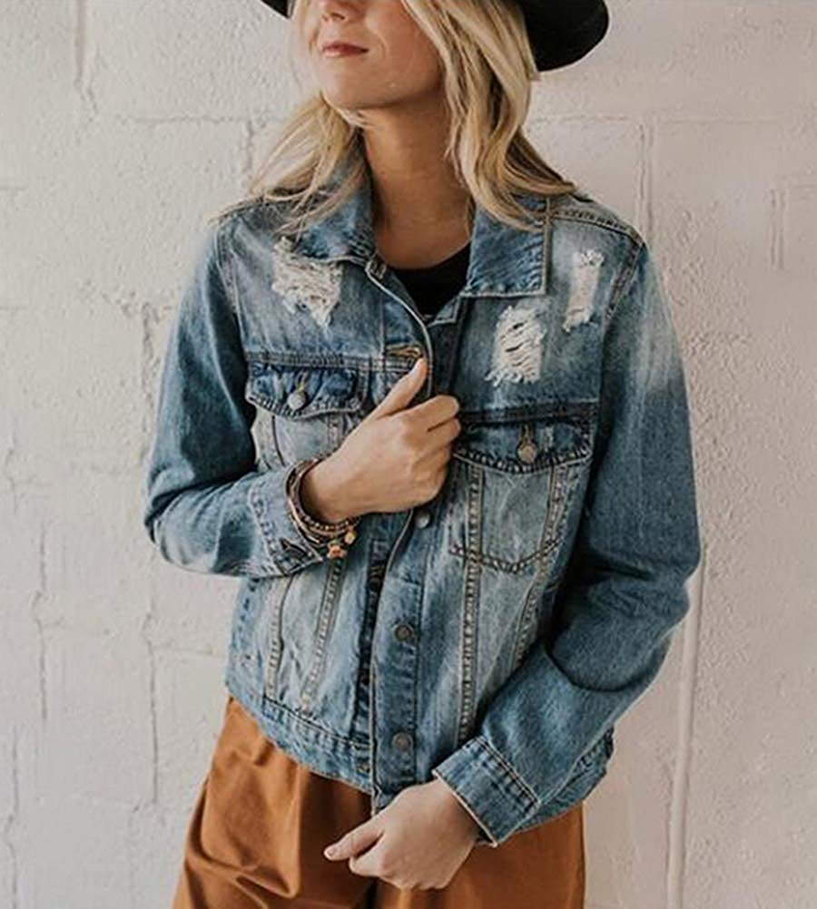 ORANDESIGNE Damen Jeansjacke Beiläufig Stilvoll Gewaschene Jeans Denim Jacket Oberbekleidung Coats Mantel Mädchen Muster Leichte Jacke Outwear Mit Patches B Blau