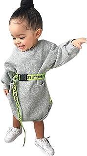 0-4 Años,SO-buts Niños Pequeños Bebés Otoño Manga Larga Carta Bolsillo Cinturón Princesa Vestir Ropa