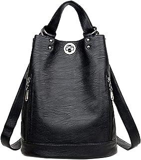Neuleben Damen Rucksack Schultertasche Rucksackhandtasche Daypack aus PU Leder Schwarz PU