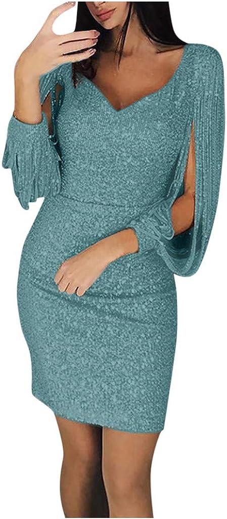 Womens Sexy Sequin Tassel Stitching Shining Club Sheath Long Sleeve Mini Dress