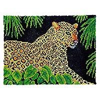 LeopardプリントタペストリーラッチフックラグキットDIYかぎ針編みクッションマットDIYカーペット敷物ギフト81 * 61cm