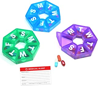 Weekly 7-Sided Pill Organizer - 3 Pack 1 of Each Blue, Green & Purple with Bonus Medical Alert Information Card BPA Free, Small Pill Box Great for Travel Unconditional Guarantee