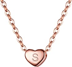 BriLove Women's 925 Sterling Silver Tiny Initial Heart Pendant Choker Necklace