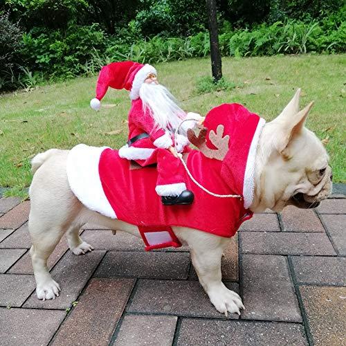ChYoung Trajes de Mascotas con Santa Claus Disfraces de Navidad de Navidad Gatos Perros Ropa de Fiesta Vestir Ropa