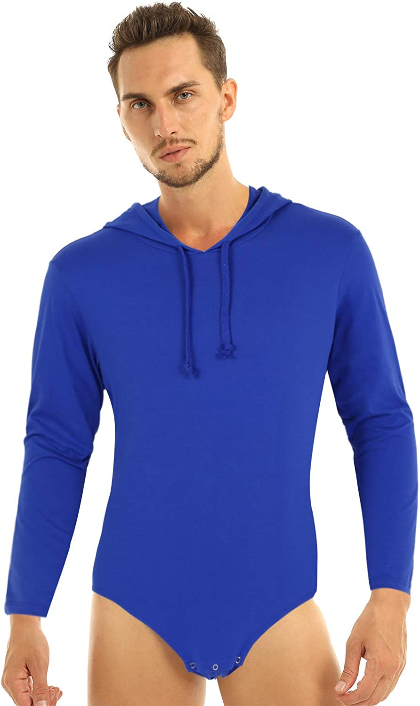 Mens Cotton Leotard Bodysuit Long Sleeve Press Crotch Hoodie Jumpsuit Underwear