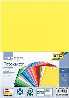 Folia 614/250 09 – Lot de 250 Feuilles cartonnées Assorties DIN A4, 300 g/m², 250 Feuilles, Assorties en 25 Couleurs, pour...