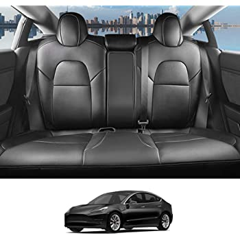 Black INCH EMPIRE Car Seat Cover for Tesla Model 3 PU Leather Seat Protector 14pcs Fully Wrapped Custom Fit for Model 3 2017 2018 2019 2020 All Season