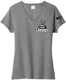 Jeep Ladies Wave USA V-Neck T-Shirt