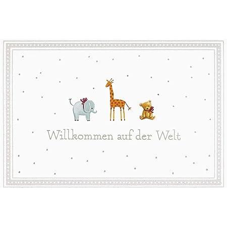 """BSB Grußkarte Glückwunschkarte zur Geburt""""""""Willkommen auf der Welt"""""""" kleine Tiere"""", 311836-2"""