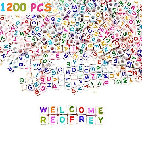 Reofrey 1200pcs Alphabet Cube Bead Kit Colorido A-z Alfabeto Acrílico Cuadrado Blanco 6x6mm, Con Cordón De Cristal Elástico, Utilizado Para Hacer Joyas Diy Collar Pulsera Llavero